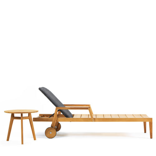 Ethimo's Knit range sun lounger and coffee table.