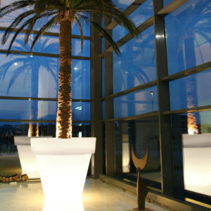 Serralunga's Big Bo illuminated planters with palm trees in a warmly lit room with big windows