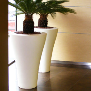 Two of Serralunga's Ming high planters in white