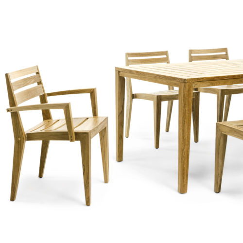 Ethimo's Ribot range dining armchairs with dining table.
