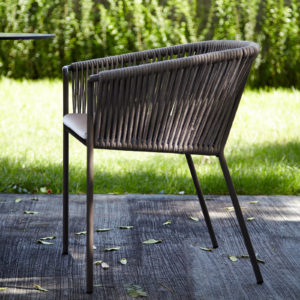 The weave dining chair by Point in use.