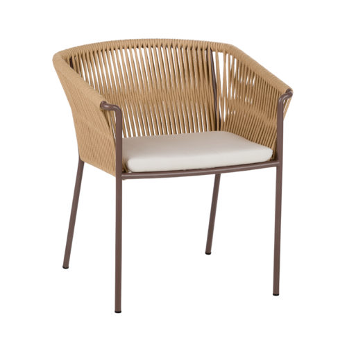 The Weave dining chair by Point with dark legs.