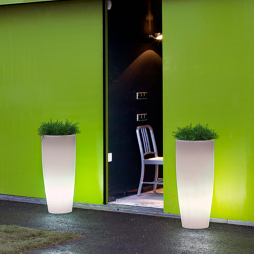 New Garden's Bambu 90 light up planters in use.