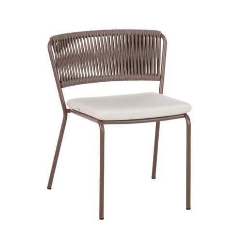 A Weave dining chair by Point with dark legs.