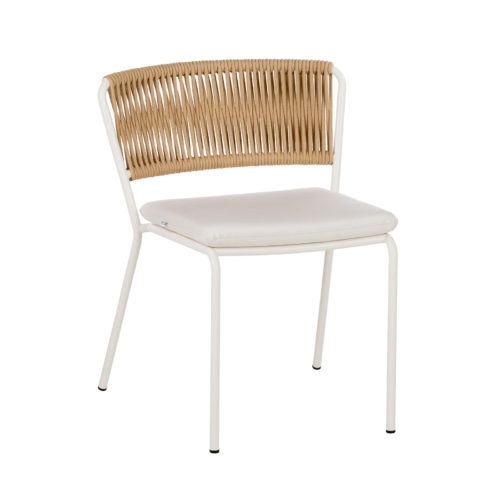 A Weave dining chair by Point with white legs.