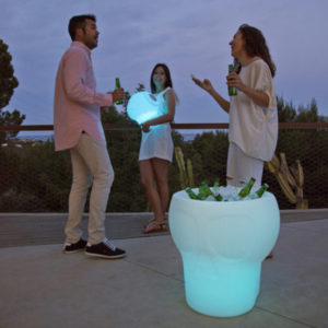 New Garden's Melvin light up bucket table in use.