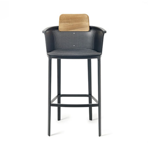Ethimo's Nicolette collection soft backed bar stool.