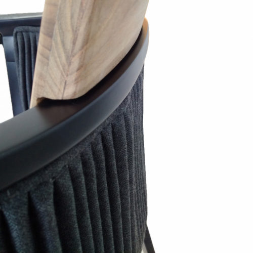Ethimo's nicolette collection soft backed bar stool close uop.
