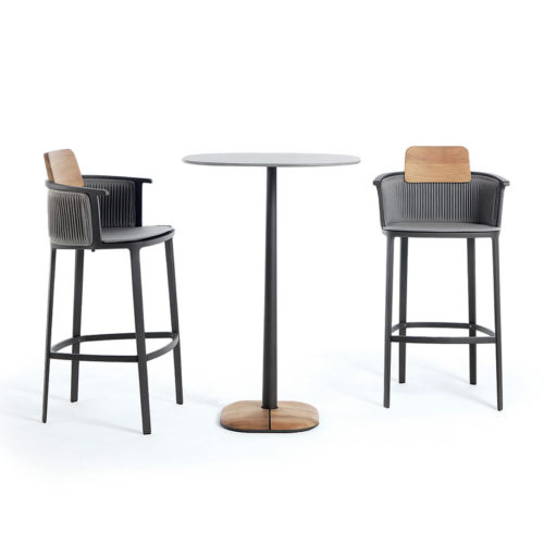 Ethimo's Nicolette collection bar stools and bar table.