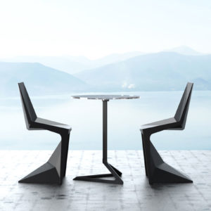 Two black voxel dining chaits by Vondom.
