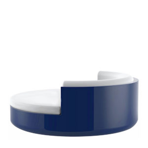 Vondom's Ulm daybed with a fixed backrest, in blue.