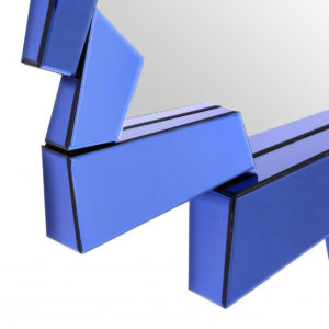 A close up of the Cellino mirror in blue.