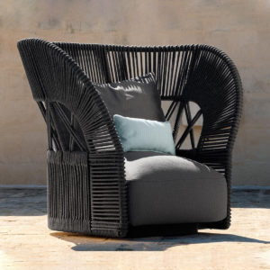 Cliff Deco Rope Lounge Armchair by Talenti in use.