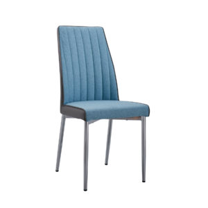 Blue upholstered dining chair by Artysmen.