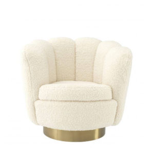 The Mirage Swivel Chair by Eichholtz in white.