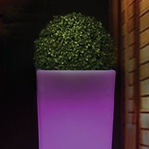 New Garden's Melisa 30 light up planter in use.